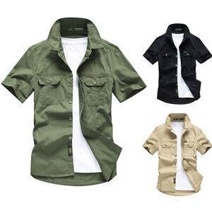 Men Short Sleeve Shirts Summer Military Army Tactical Shirt Outdoor Casual Shirt