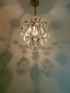 Vintage Brass and Crystal Old Cage Chandelier