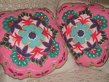 SHABBY COTTAGE CYNTHIA ROWLEY EMBROIDERED THROW PILLOWS PARIS CHIC x2