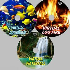 VIRTUAL WATERFALL, AQUARIUM & LOG FIRE 3 SOOTHING DVD SET 4 FLATSCREEN TV/PC NEW
