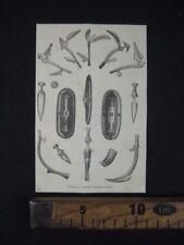 1875 AFRICA CENTRALE ARMI SPADE SCUDI SCIABOLE ANTICA STAMPA PRINT ENGRAVING A5