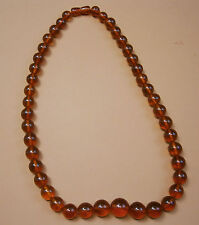 VINTAGE OLD LARGE BEAUTY YANTAR NATURAL RUSSIAN AMBER BEADS NECKLACE JEWEL