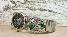 Navajo Green Malachite Sterling Silver Mens Watch *NEW*