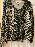 Vintage Ambra Women's Size Large Pullover Brown Tan Animal Print Acrylic Sweater