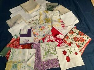 25 VINTAGE HANKIES PRINTS & EMBROIDERED CUTTERS CRAFT LOT