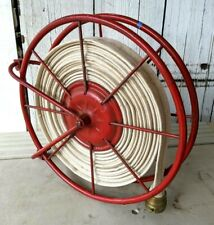 """Vintage Firehose Reel and 50' of Linen Hose with 2"""" Brass Fittings"""