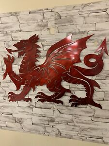 "Red Welsh Dragon 15"" Long Metal Wall Art Wales"