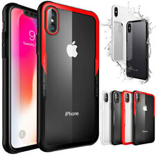 Clear Tempered Glass Hybrid TPU Bumper Protective Case For iPhone X Black + Red