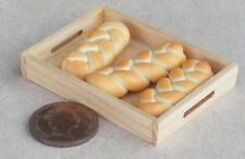 1:12 Scale 3 Loose Plaited Loaves In A Wooden Tray Dolls House Bread Accessory