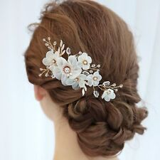 Bridal Hair Comb Ivory Silk Flower Pearl Headpiece Wedding Accessory 02301 Gold