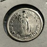 1833 PERU SILVER 1/2 REAL SCARCE DATE COIN