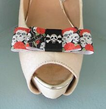 2 Quirky Skulls & Roses Double Bow Clips for Shoes with Skull/Crossbones Centre