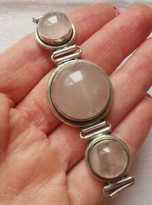 Lovely Sterling Silver Rose Quartz Chunky Bracelet