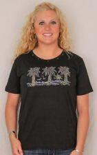 Three Palm Tree Tee Shirt - Black with Rhinestones 9101800B