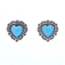 Sterling Silver Southwestern Heart Stud Earrings - 925 Love Pierced
