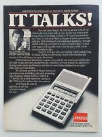 1982 Sharp EL-620 Talking Calculator Technology Math Vintage Magazine Print Ad
