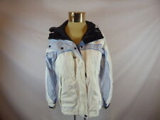 Women's COLUMBIA White and Blue Zipper Front Windbreaker Hooded Coat Sz M