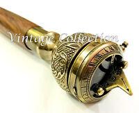 Antiker Holz Gehstock Vintage Nautischer Messing-Druckknopf Sundial-Griff