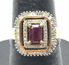 Sterling 925 Gold Tone Emerald Cut Red Ruby Diamond Baguette Halo Cocktail Ring
