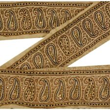 Sanskriti Vintage Decor Sari Border Hand Beaded Craft Trim Sewing Cream Lace