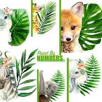 Floral Leaf Animals Design Paint By Numbers Oil Painting DIY Canvas Kit 40x50cm