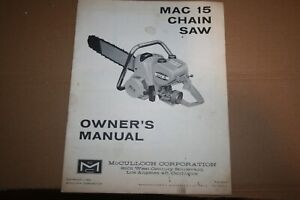 Vintage1963 McCulloch Mach 15 chain saw Owners Manual