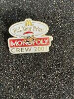 Vintage McDonald's Pick Your Prize Monopoly Crew 2001 Enamel Lapel Pin