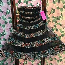 Betsey Johnson Formal Prom Dress Pin Up Multicolor Pouf Skirt Size 12 New W/tags