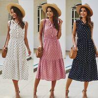 Women's Sexy Slim Sundress Maxi Dress Lady Sleeveless Polka Dot Smocked Dresses