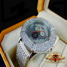 Khronos/Joe Rodeo 3 Row Hexagon Bezel Custom Iced Out Band Diamond Watch White