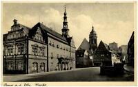 1942 Stempel PIRNA auf AK Sachsen Strassen Partie am Markt nach Annaberg gelauf.