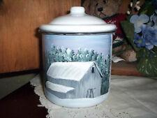 White enamel container w/handpainted winter barn scene