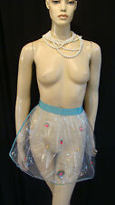 50s VINTAGE FABULOUS GLAMOUR COCKTAIL APRON WITH PLASTIC & TULLE w 3-D FRUITS