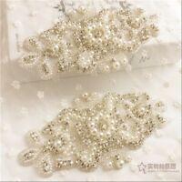 Crystal Rhinestone Pearl Beaded Applique Patch Wedding Dress Belt Sew Craft Chic