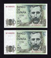 F.C. PAREJA CORRELATIVA 1000 PESETAS 1979 , SERIE 9C , S/C- (1) PICO DOBLADO .