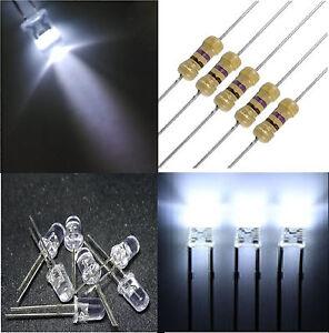 10 diodi led 5 mm bianco FREDDO alta luminosità + RESISTENZE OMAGGIO