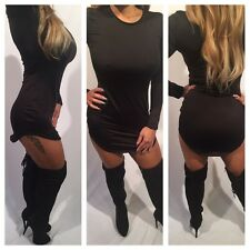 Connie's Long sleeve Black Mini Dress with rounded hem Crew neck size S