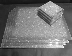 New SILVER sparkle mirrored glass place mat and matching coaster  GLITTER BLING