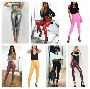 Women Vinyl PVC Disco Elasticated Leggings Ladies Wet Look Shiny High Waist Pant