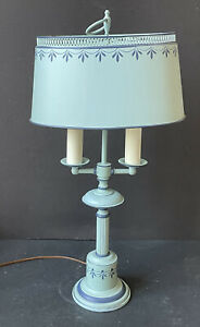 RARE! Vintage TOLE Light BLUE Florentine Metal LAMP *Bouillotte Toleware Antique