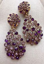 Oscar De La Renta Light And Dark Purple Crystal Pave Teardrop Earrings Signed