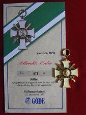 GÖDE Orden Sachsen 1850 - Albrechts Orden + Zertifikat Nr.578