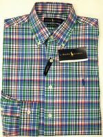 NEW $98 Polo Ralph Lauren Cotton Stretch Long Sleeve Shirt Mens Green Blue Plaid