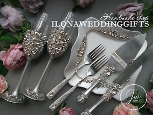 Swarovski Crystal Silver Wedding Gold Cake Knife Server Set Flutes Plate Sparkle