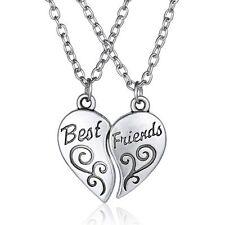 New 2 Pcs Break Chic Charm Best Friend Forever Silver Heart Pendants Necklace