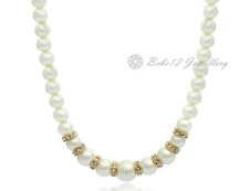 Pearl Necklace/Simulated Diamond/Rose gold/Wedding/Bridal/RGN577/B032