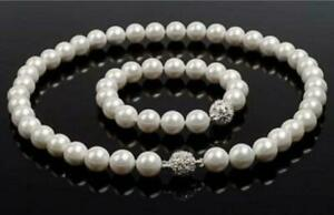 """10mm White South Sea Shell Pearl Round Beads Necklace 18"""" Bracelet 7.5"""""""