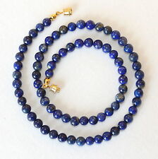 "6mm Natural Lapis Lazuli Necklace 16"" 6 mm lapis Beads. Blue beaded Necklace"