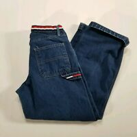 Vintage Tommy Hilfiger Denim Blue Jeans Striped Spell Out Waistband Women's 6