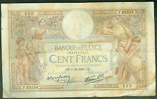 FRANCE 100 FRANCS LUC OLIVIER MERSON du 1/12/1938  ETAT: B  #  F 62556